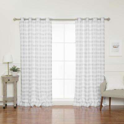 84 in. L Nordic Watercolor Check Grommet Curtains in Grey (2-Pack)