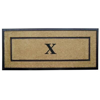 DirtBuster Single Picture Frame Black 24 in. x 57 in. Coir with Rubber Border Monogrammed X Door Mat