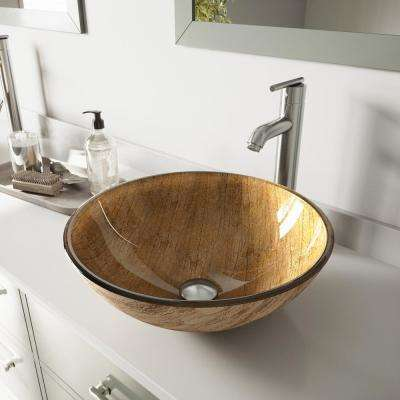 Amber Sunset Glass Vessel Bathroom Sink in Multicolor with Faucet in Brushed Nickel