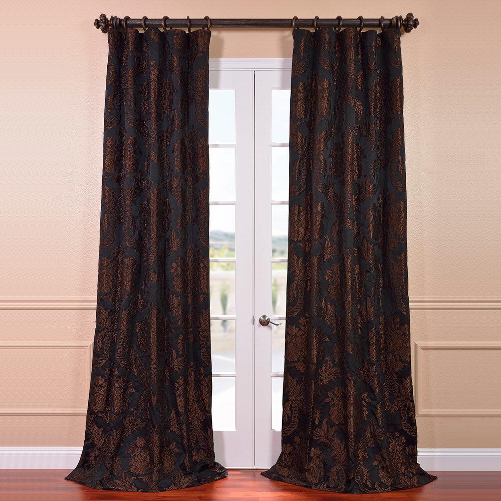Exclusive Fabrics & Furnishings Magdelena Black and Cognac Faux Silk Jacquard Curtain Panel - 50 inch W x 120 inch L by Exclusive Fabrics & Furnishings