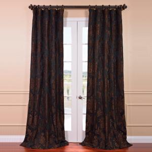Exclusive Fabrics & Furnishings Magdelena Black and Cognac Faux Silk Jacquard Curtain... by Exclusive Fabrics & Furnishings