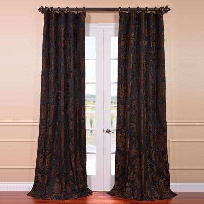 Magdelena Black and Cognac Faux Silk Jacquard Curtain Panel - 50 in. W x 120 in. L