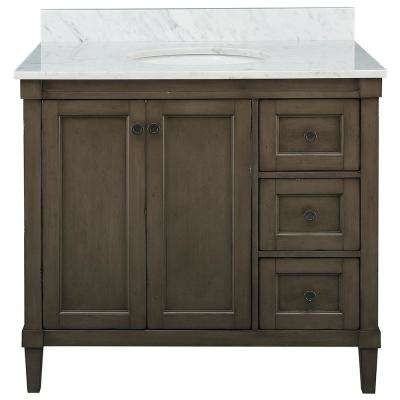 Rosecliff 37 in. W x 22 in. D Vanity in Distressed Grey with Carrara Marble Vanity Top in White with White Sink