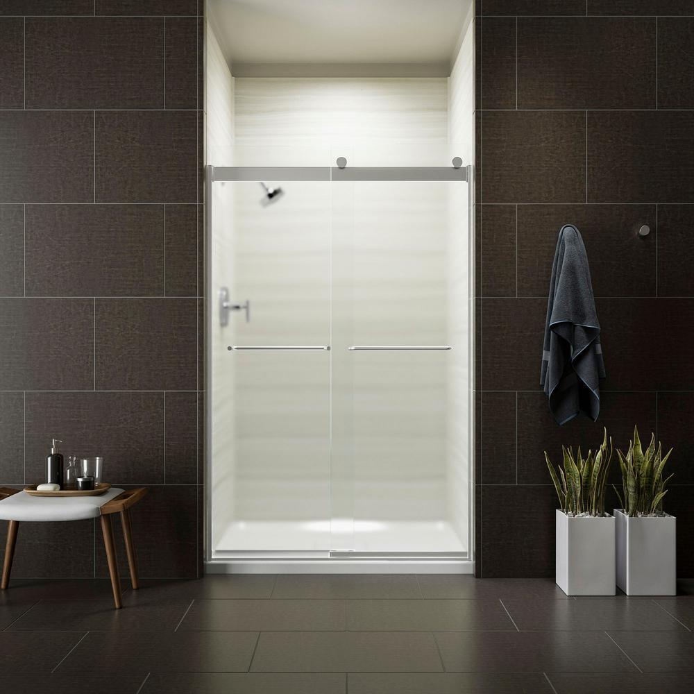 Levity 48 in. x 74 in. Semi-Frameless Sliding Shower Door in
