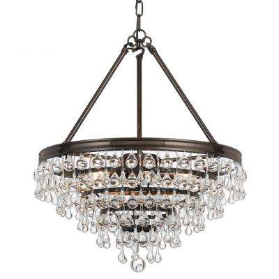 Calypso 6-Light Crystal Teardrop Vibrant Bronze Chandelier