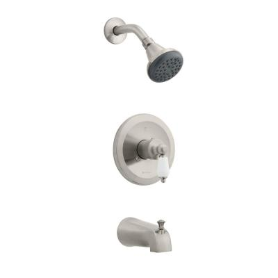 Teapot Single-Handle Tub and Shower Faucet in Brushed Nickel (Valve Included)