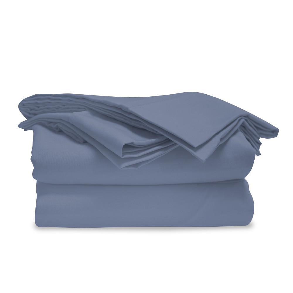 4-Piece Cobalt Blue Microfiber California King Sheet Set