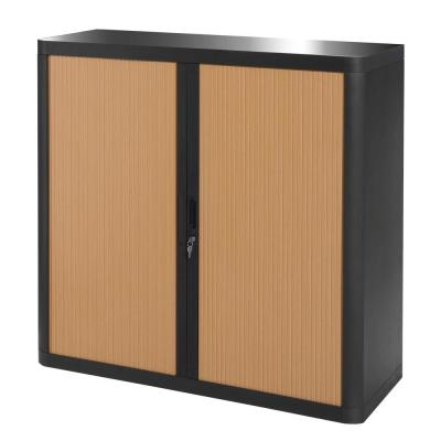 Paperflow easyOffice Black and Beech 41 in. Tall Storage Cabinet with 2-Shelves
