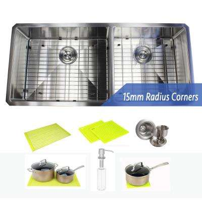 Undermount 16-Gauge Stainless Steel 42 in. x 19 in. x 10 in. 60/40 Offset Double Bowl Kitchen Sink Combo
