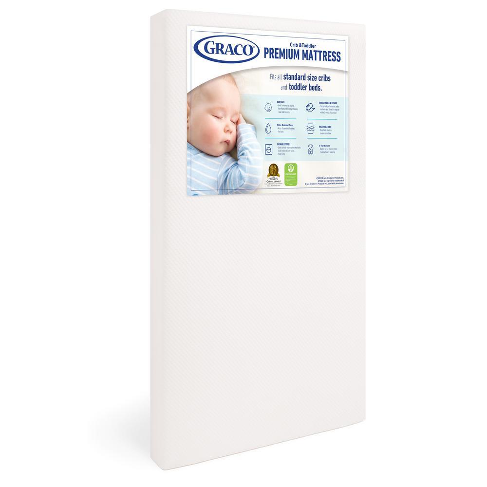 Premium White Foam Crib and Toddler Mattress