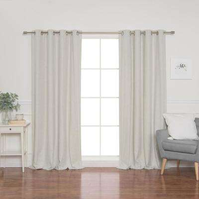 Linen Look 52 in. W x 96 in. L Grommet Curtains in Linen (2-Pack)