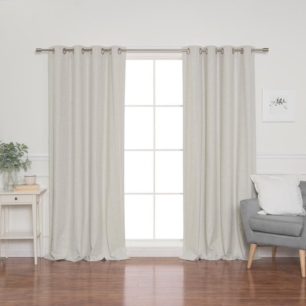 Linen Look 52 in. W x 96 in. L Grommet Curtains in Linen (2-Pack)