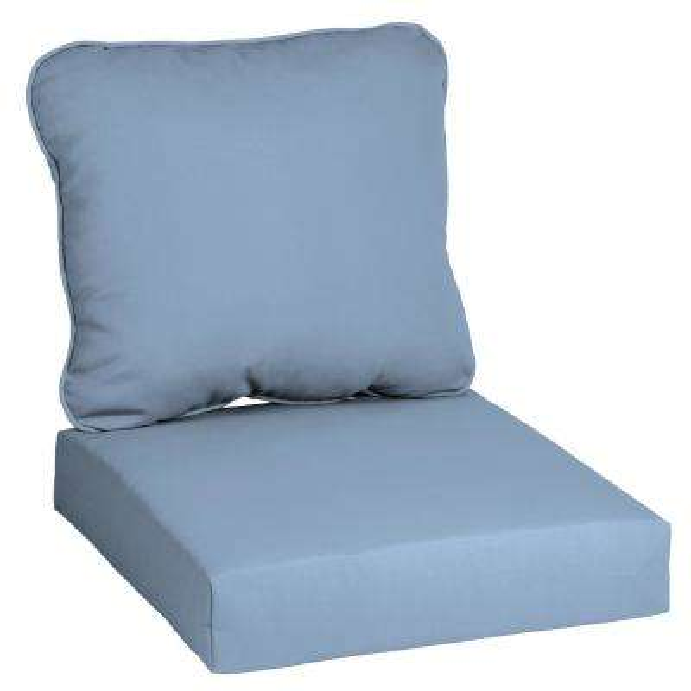 CushionGuard Denim 2-Piece Deep Seating Outdoor Lounge Chair Cushion