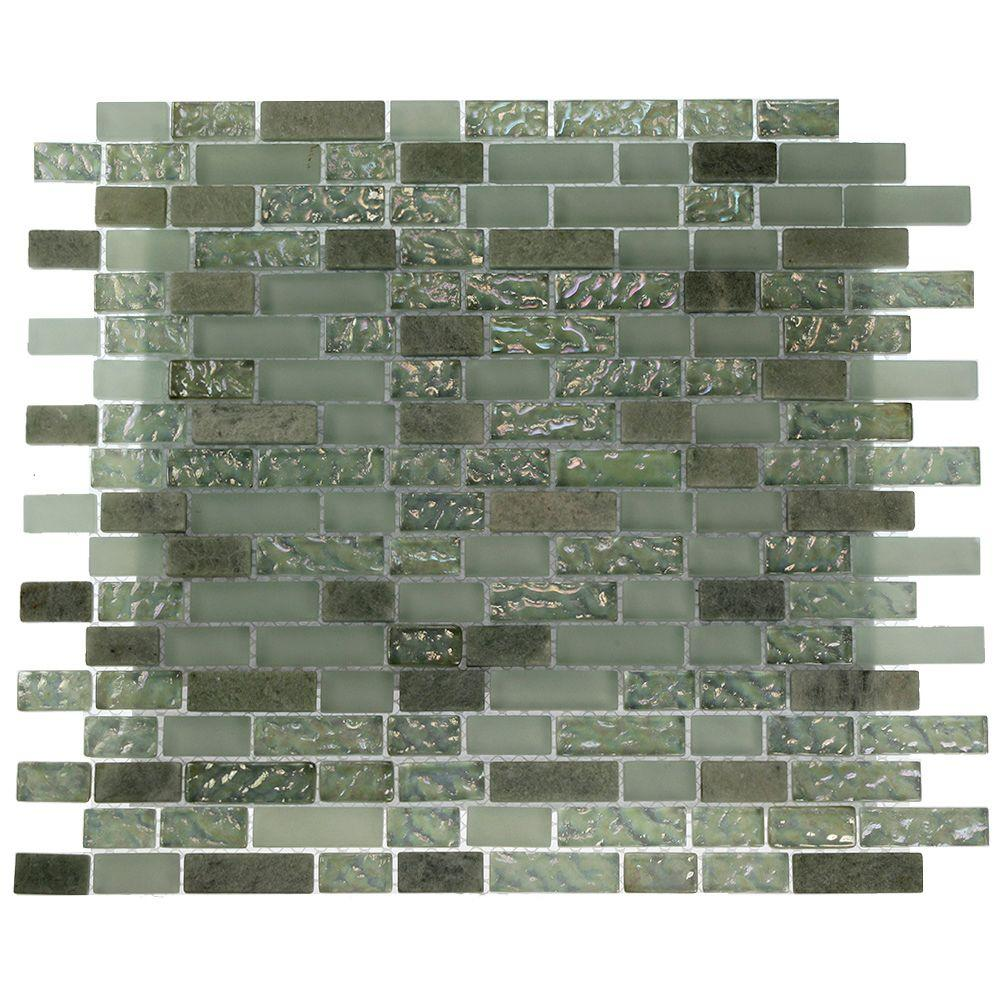 Splashback Tile Pattern 12 in. x 12 in. x 8 mm Marble and Glass Mosaic Floor and Wall Tile