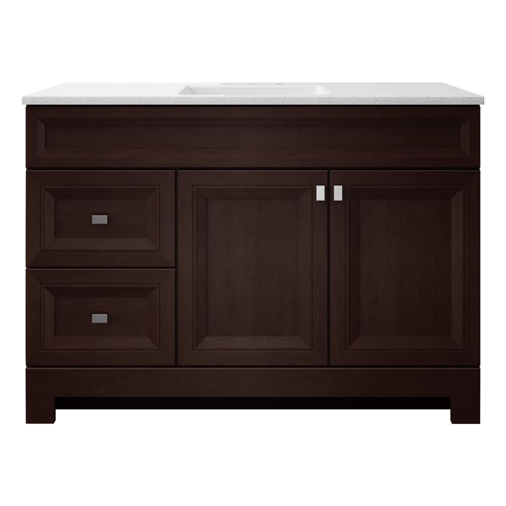 Home Decorators Collection Sedgewood 48-1/2 in. W Bath Vanity in Dark Cognac with Solid Surface Technology Vanity Top in Arctic with White Sink