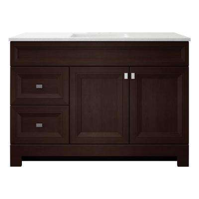 Sedgewood 48-1/2 in. W Bath Vanity in Dark Cognac with Solid Surface Technology Vanity Top in Arctic with White Sink