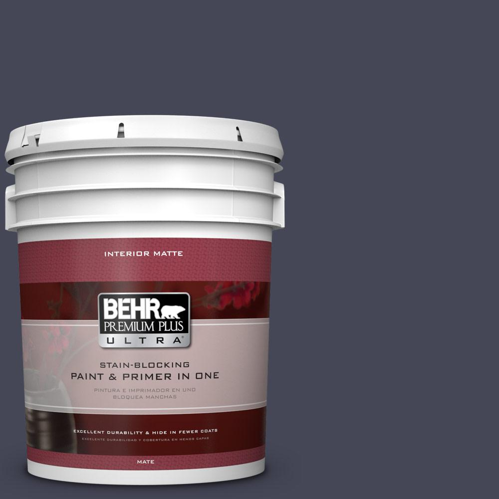 BEHR Premium Plus Ultra 5 gal. #PPU15-19 Black Sapphire Flat/Matte Interior Paint