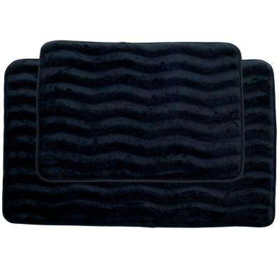 Black 20.25 in. x 32.25 in. Memory Foam 2-Piece Bath Mat Set