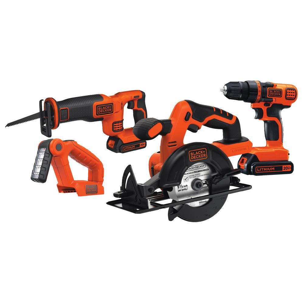 black decker 20 volt max lithium ion cordless combo kit 4 tool with 2 batteries 1 5ah and. Black Bedroom Furniture Sets. Home Design Ideas