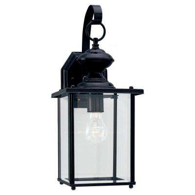 Jamestowne 7 in. W 1-Light Black Outdoor Wall Mount Lantern with Clear Beveled Glass