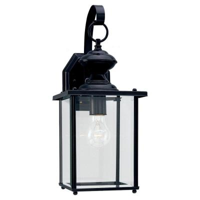 Jamestowne 7 in. W 1-Light Black Outdoor Wall Lantern Sconce with Clear Beveled Glass