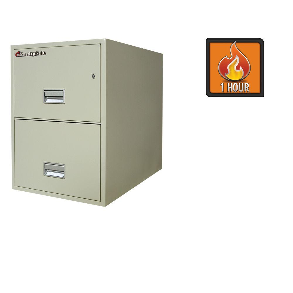 SentrySafe 2.35 cu. ft. 2-Drawer 31 in. Deep Legal Vertical Fire File in Putty