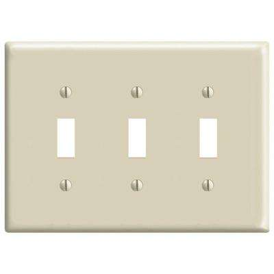 3-Gang Midway Toggle Nylon Wall Plate, Ivory