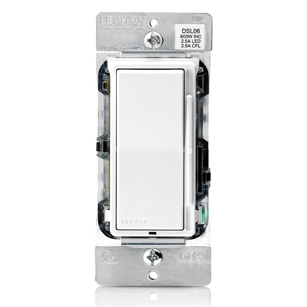 Decora Slide Dimmer for 300-Watt Dimmable LED, 600-Watt Incandescent/Halogen, White w/ Color Change Kits Included