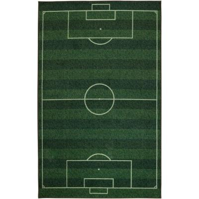 Soccer Field Green 3 ft 4 in. x 5 ft. Theme Area Rug