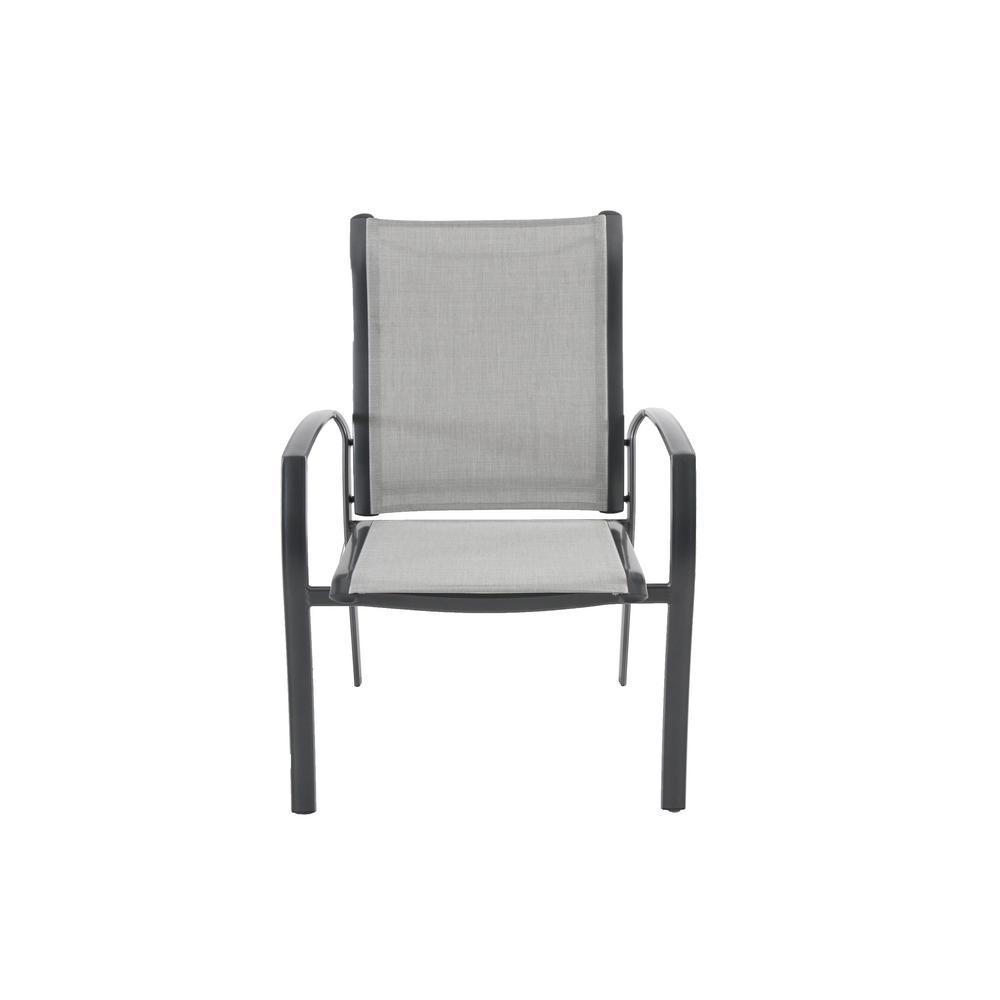 Hampton Bay Commercial Grade Aluminum Light Gray Stackable Outdoor Dining Chair In Sunbrella Augustine Alloy Sling