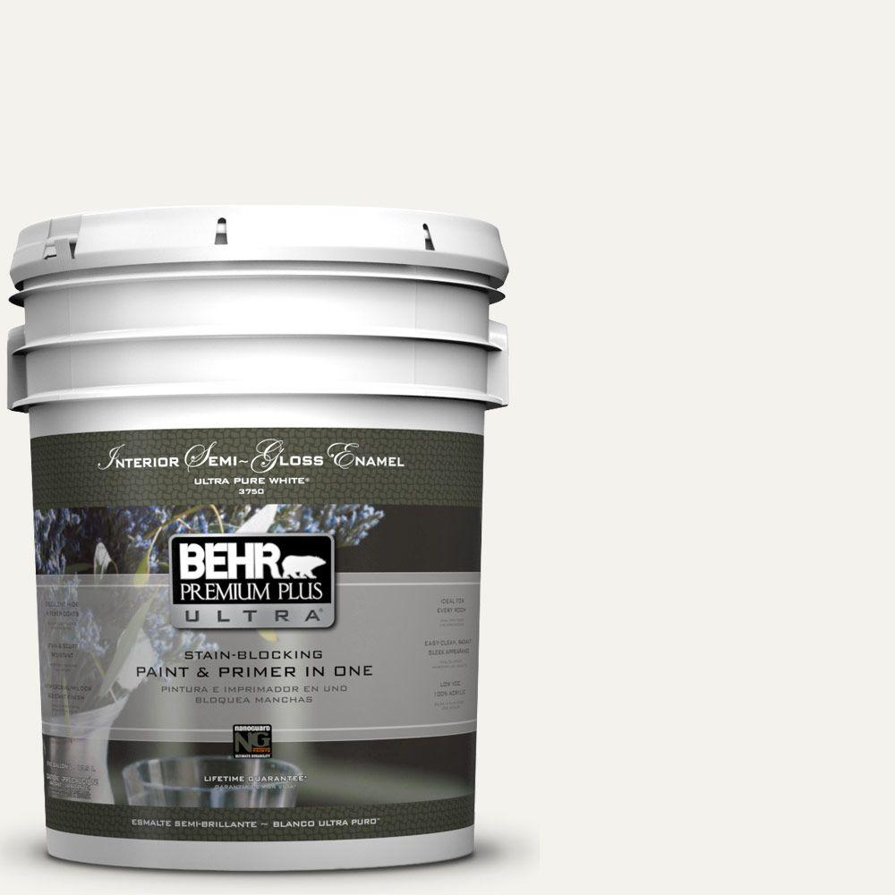 BEHR Premium Plus Ultra 5-gal. #PR-W14 Bit of Sugar Semi-Gloss Enamel Interior Paint