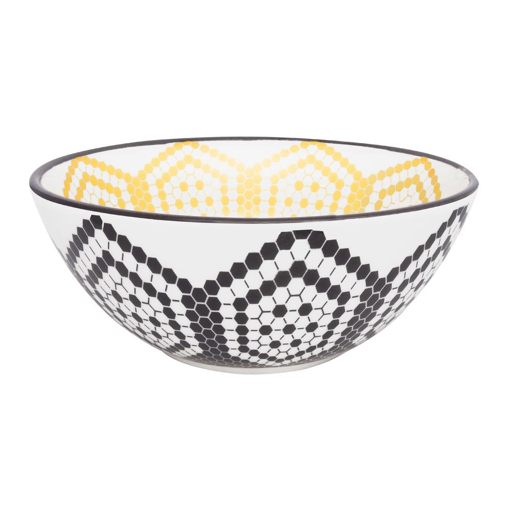 Manhattan Comfort Full Bowl 20.29 oz. Black and Yellow Earthenware Soup Bowls (Set of 12) was $179.99 now $113.27 (37.0% off)