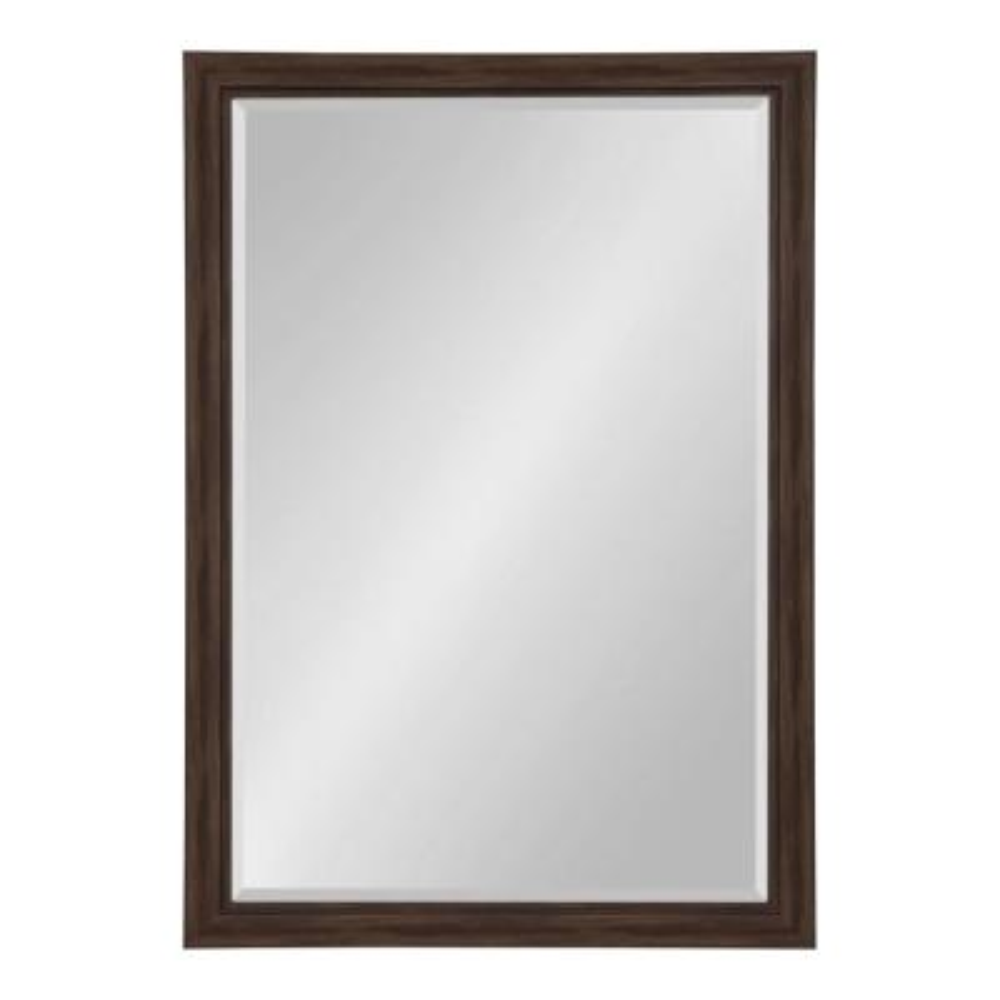 Dalat Rectangle 28 in. x 40 in. Walnut Brown Framed Wall Mirror