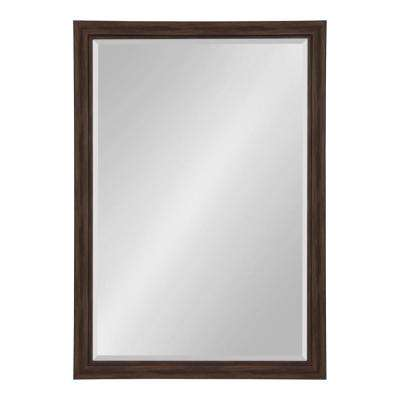 Dalat Rectangle 28 in. x 40 in. Walnut Brown Framed Wall Mirror