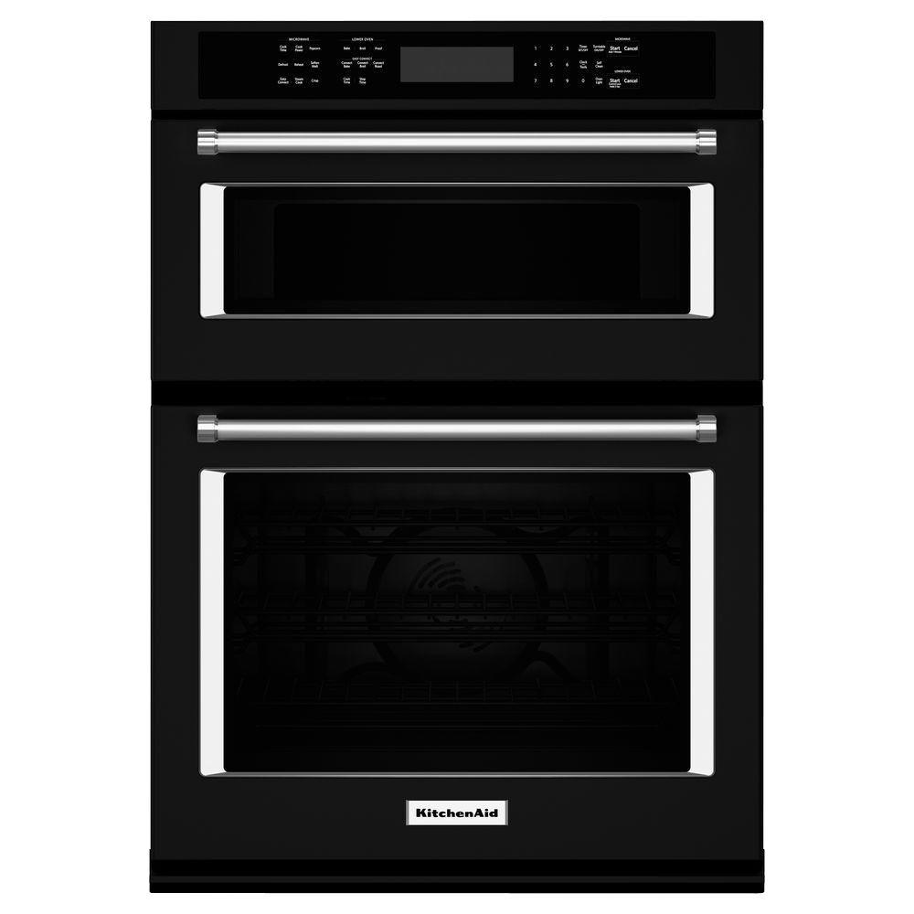 KitchenAid 30 in. Electric Even-Heat True Convection Wall Oven with Built-In Microwave in Black