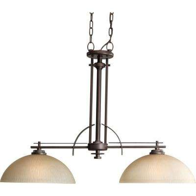 Riverside Collection 2-Light Heirloom Chandelier with Etched Light Topaz Glass