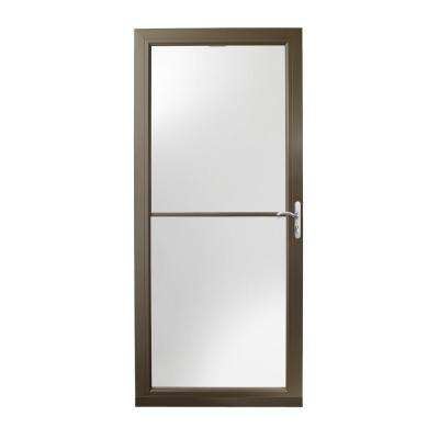 36 in. x 80 in. 3000 Series Terratone Right-Hand Self-Storing Easy Install Aluminum Storm Door with Nickel Hardware
