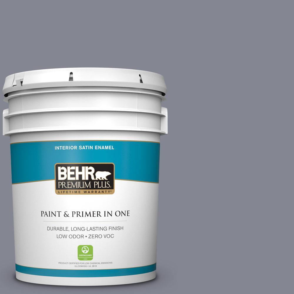 BEHR Premium Plus 5 gal. #PPU16-15 Gray Heather Zero VOC Satin Enamel Interior Paint
