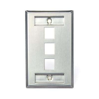 1-Gang QuickPort Standard Size 3-Port Wallplate with ID Windows, Stainless Steel