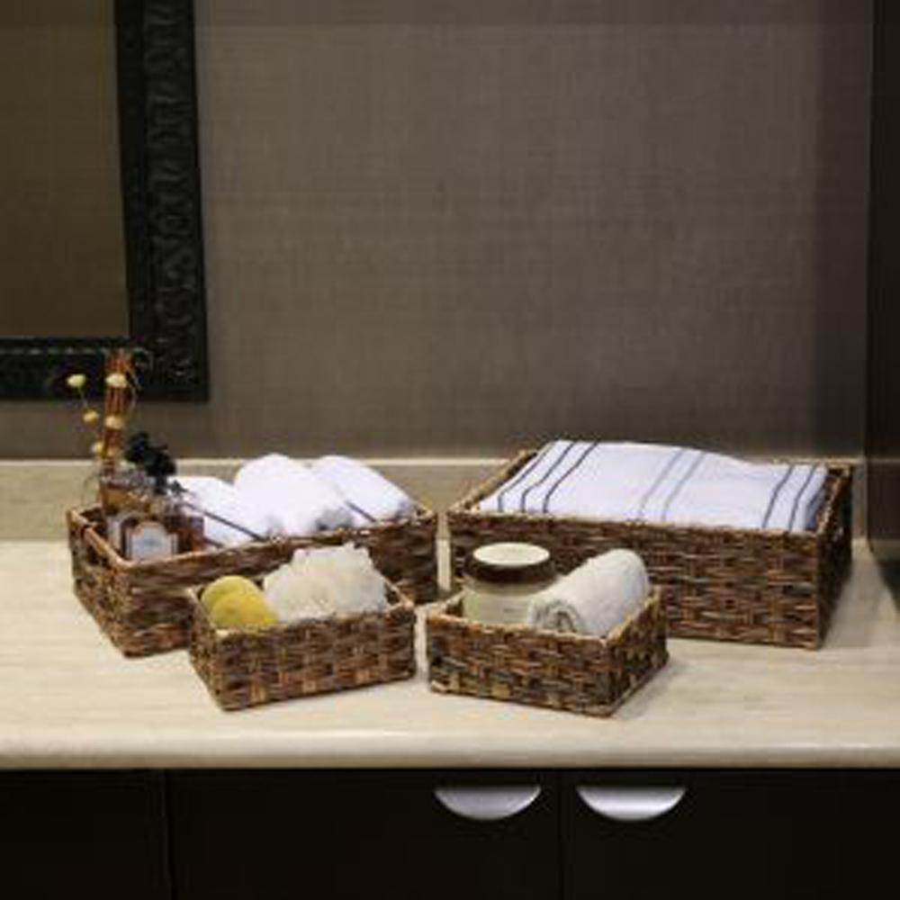 Assorted Polyethylene Handwoven Nesting Storage Basket (Set of 4)
