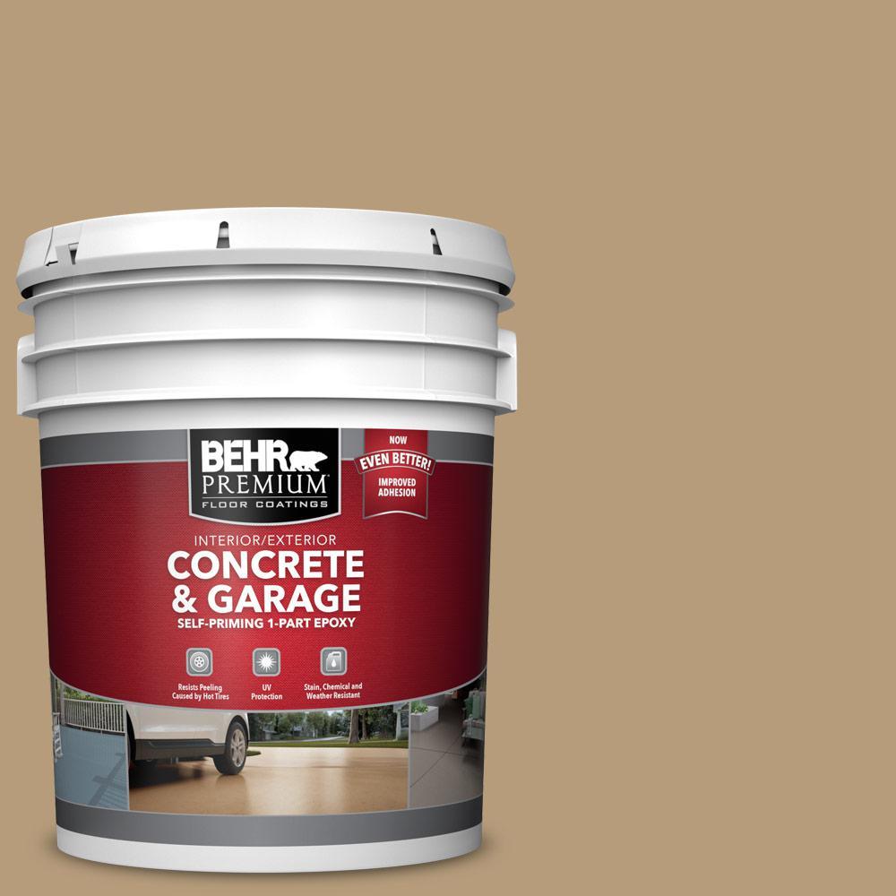 BEHR PREMIUM 5 gal. #PFC-28 Desert Sandstone Self-Priming 1-Part Epoxy Satin Interior/Exterior Concrete and Garage Floor Paint