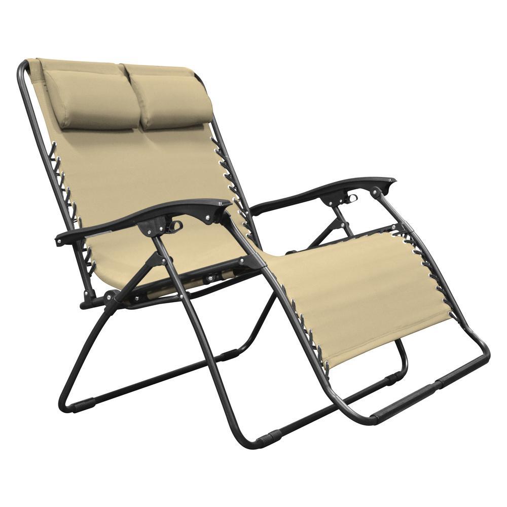 Infinity Love Seat Beige Metal Textilene Reclining Patio Lawn Chair