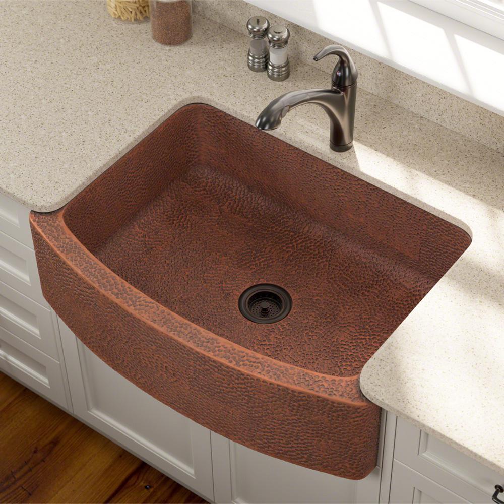 Farmhouse Apron Front Copper 33 in. Single Bowl Kitchen Sink