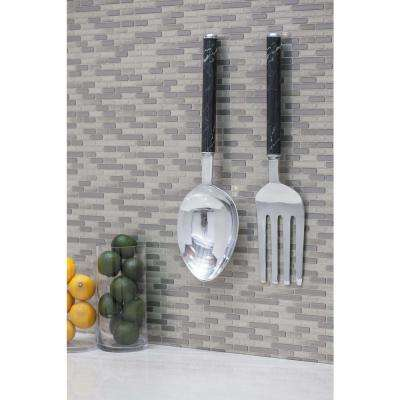 Aluminum and Iron Fork and Spoon Wall Decor (Set of 2)