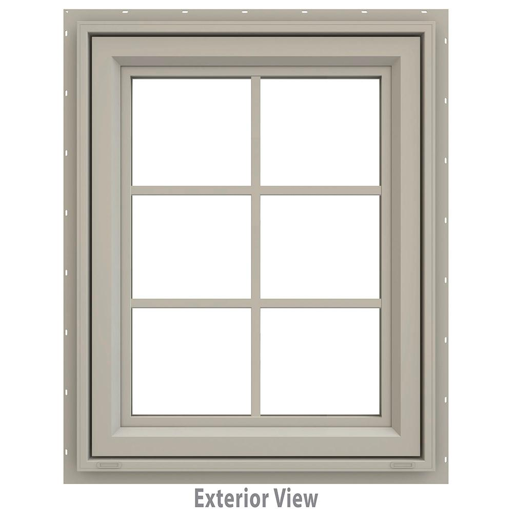 JELD-WEN 23.5 in. x 29.5 in. V-4500 Series Awning Vinyl Window with Grids - Tan
