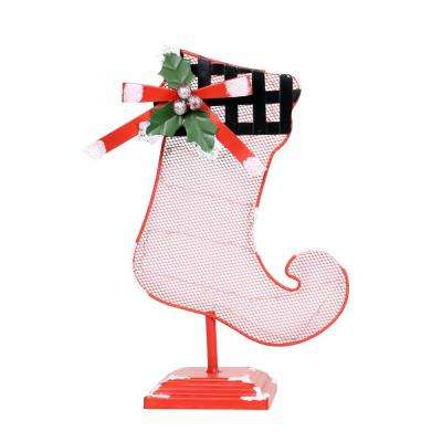 11 in. Tall Christmas Stocking Table Decor with White LED Light