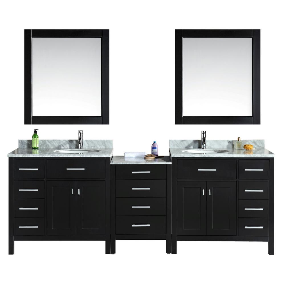 Design Element London 92 In W X 22 In D Double Vanity In Espresso With Marble Vanity Top And Mirror In Carrara White Dec076d 92 The Home Depot