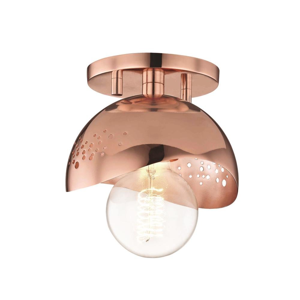 sale retailer 228f8 0b2f5 Mitzi by Hudson Valley Lighting Heidi 1-Light Polished Copper Flush Mount