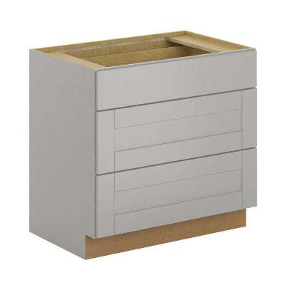 Princeton Shaker Assembled 36x34.5x24 in. Pots and Pans Drawer Base Cabinet in Warm Grey
