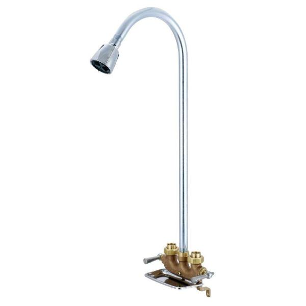 1-Spray Cast Brass Utility Shower Faucet in Rough Brass (Valve Included)